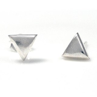 Sterling Silver Earrings Simple Triangle 925 Sterling Silver Triangle Earrings Fog Finishing - 64DESIGN Silverware