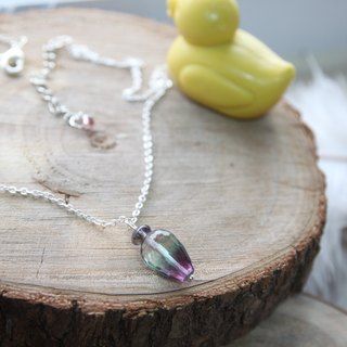 High Quality Fancy Water Drops Fluorite with Viola 925 Silver Necklace Flourite - 925 silver necklace,