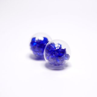 A Handmade dark blue crystal ball earrings