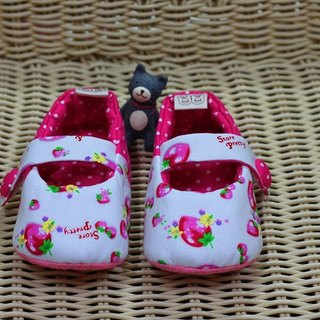Peach pink small strawberry toddler shoes