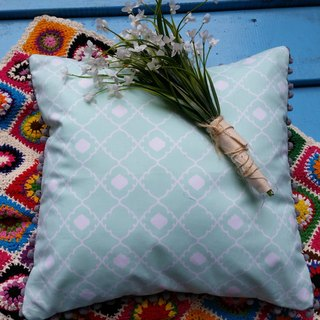 Nordic characteristic pale green geometric pattern of gray hairs ball pillow / pillow