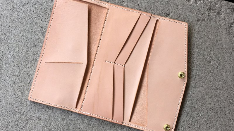 Tangential tri-fold long clip / wallet hand-stitched yak leather