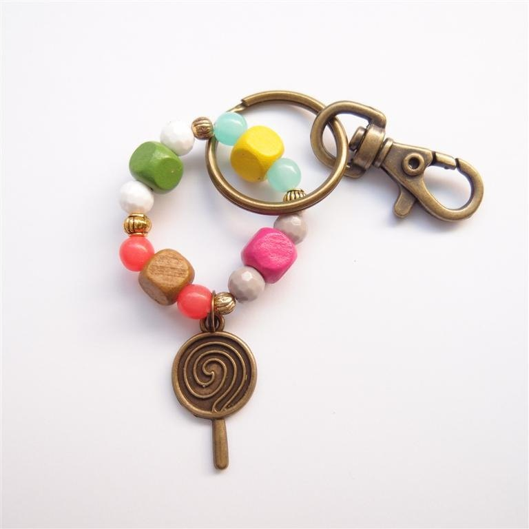 Beaded key ring lollipop
