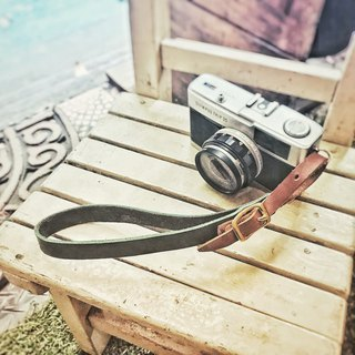 Sienna leather manual camera wristband. Key ring. Mobile phone strap