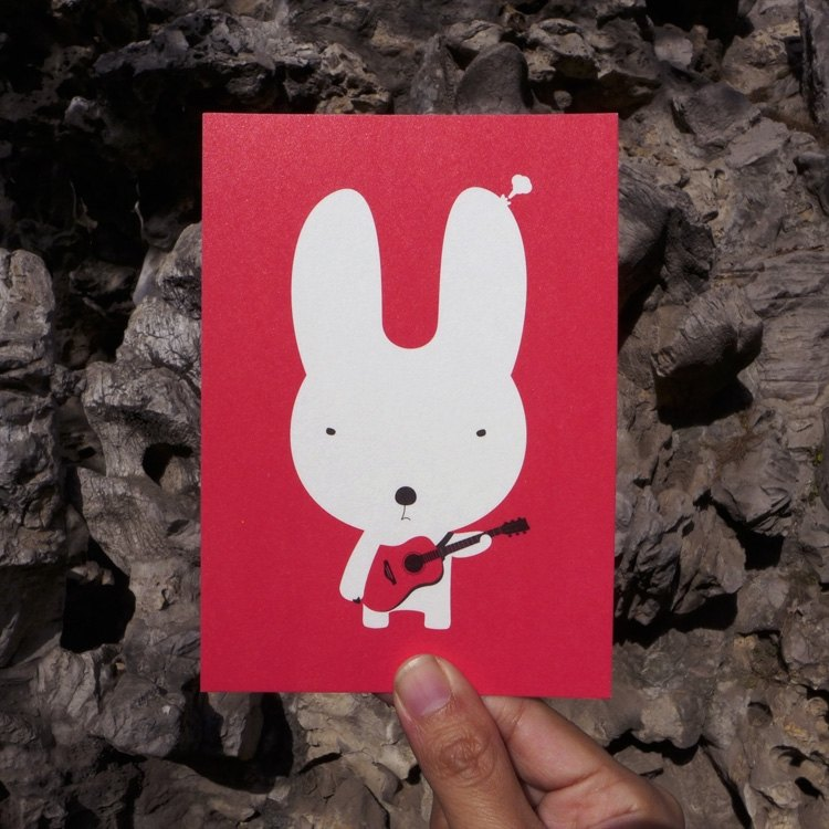 Design postcard | guitar rabbit