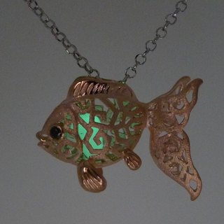 "925 Silver Goldfish Shaped Lantern Pendant With 18"" Silver Necklace"