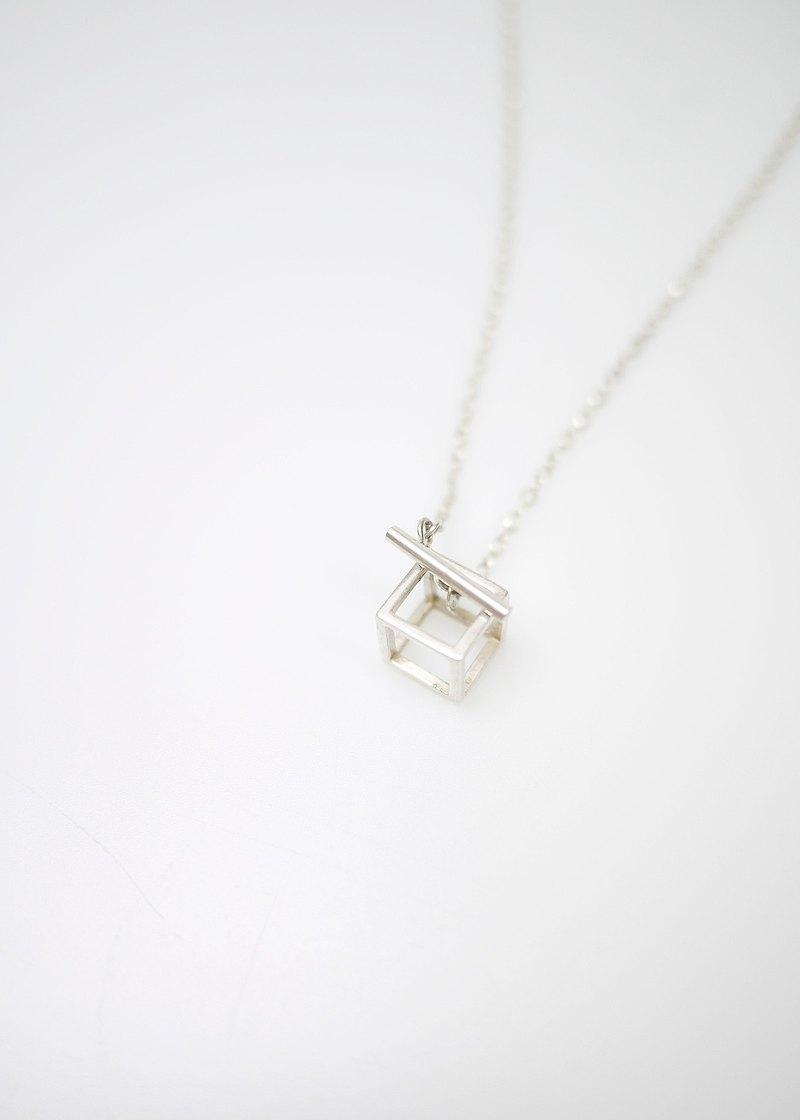方塊關係簡約純銀項鍊