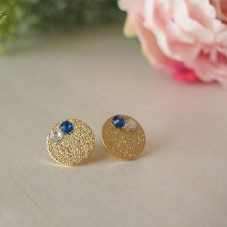 【14kgf】 Stardust Gold Plated Earrings Capri Blue