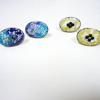 Snow of Snow Spring Spring enamel earrings (blue & amp; yellow)
