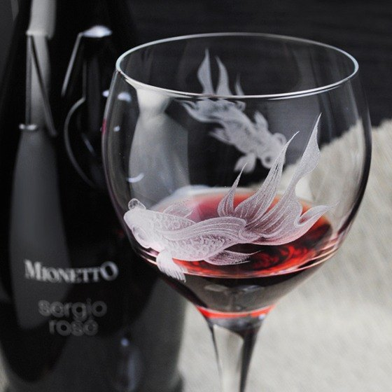405cc [carving] goldfish (cut thin edge of one piece) Italy Bormioli Rocco Feast series FIORE BURGUNDER Burgundy red wine glass engraving glass engraving Burgundy