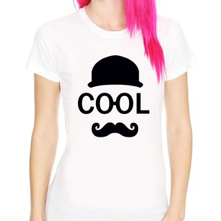 COOL Girls T-shirt -2 color mustache mustache retro blue paper glasses fashionable art design original brand