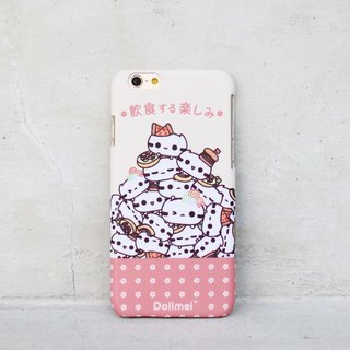 Dollmei iPhone 6 Happy cute cat mobile phone shell pink eat and drink