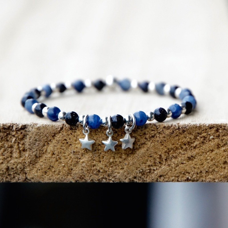 ITS-B121 [925 Silver Series · Tekapo Stars] Blue Stone / Blue Sand / Button Bracelet