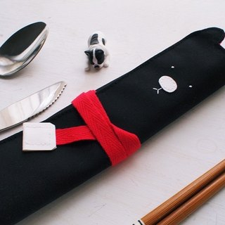Hairmo. White nose bear with chopsticks / cutlery bag / pencil case - black