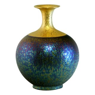 Gilt colorful glass crystalline glaze _ long-necked small mouth Vase