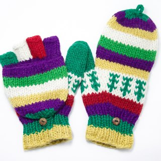 Valentine's Day gift limit a hand-woven pure wool knit gloves / detachable gloves / bristles gloves / warm gloves - fresh forest national totem