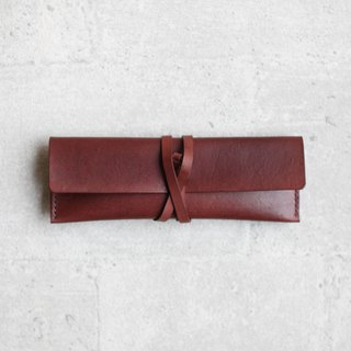 Brown leather Pencil Case/Pen Pouch/ Sunglasses Case