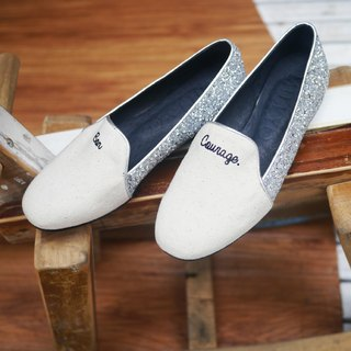 [M Shoes. Then stride. ] French fashion stitching loafers - shine silver