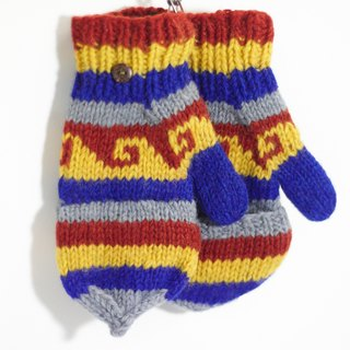 Valentine's Day gift limit a hand-woven pure wool knit gloves / detachable gloves / bristles gloves / warm gloves - contrast color national totem