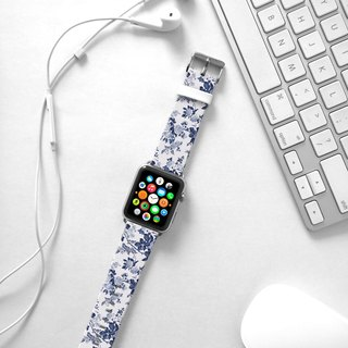 Apple Watch Series 1 , Series 2, Series 3 - Blue Rose Floral pattern Watch Strap Band for Apple Watch / Apple Watch Sport - 38 mm / 42 mm avilable