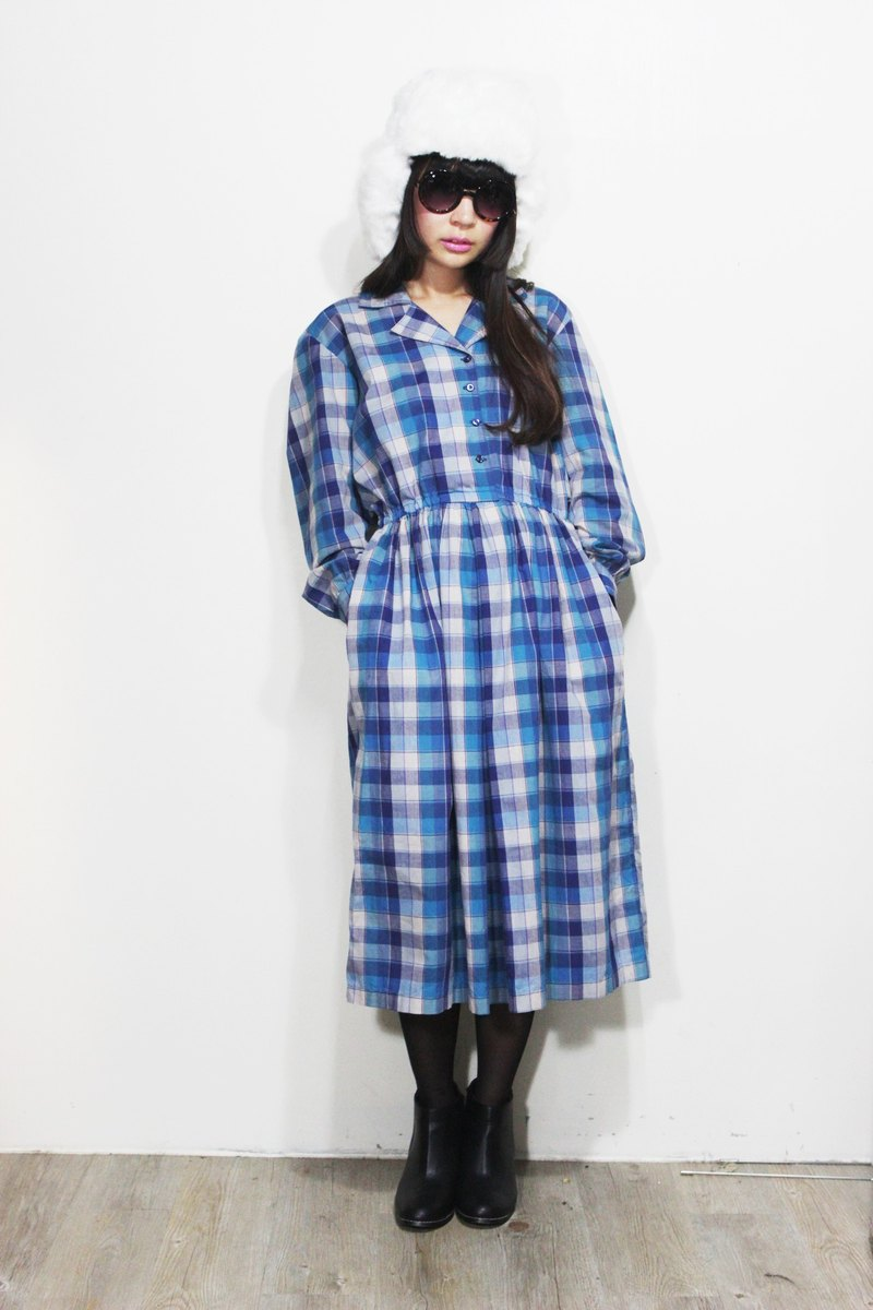 F536 (Vintage) blue gradient color texture plaid long-sleeved cotton dress {vintage}