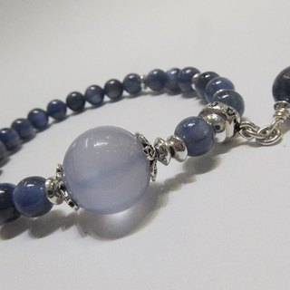 blue. Moon - all natural kyanite x blue chalcedony sterling silver clam. Hong Kong original design