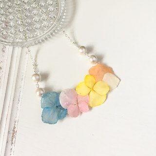 *Haku‧Neko*Colorful garden - color hydrangea Cotton Pearl Necklace (real flowers series)