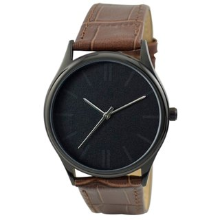Vaguely Watch (black) Brown Belt - Free shipping worldwide