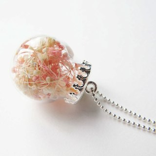 *Rosy Garden* pink and white color baby's breath glass ball necklace