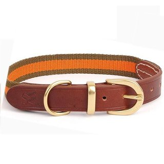 Weiss [W & S] Elegant Ribbon Collar - Size L-Brown, Black, Orange