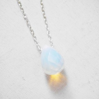 Opal flood point Cutaway natural stone minimalist personality 925 silver necklace