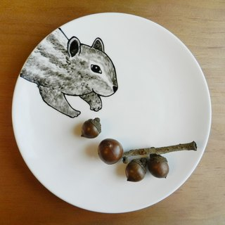 Forest junior partner series Chipmunk Chipmunk Thief porcelain dessert plate 18cm