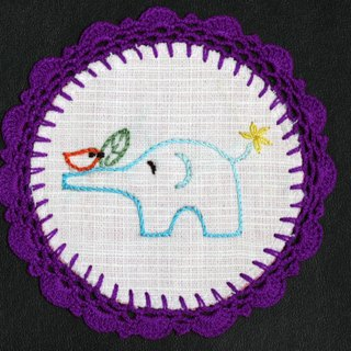 Hand-woven coasters - baby elephant and birds frolicking + purple Crochet Fabric Coaster