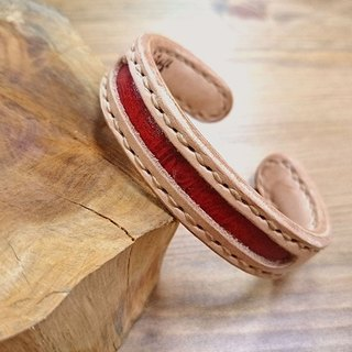 Five lucky hand-made leather _ concentric leather bracelet - brass core increase (s) - Five red