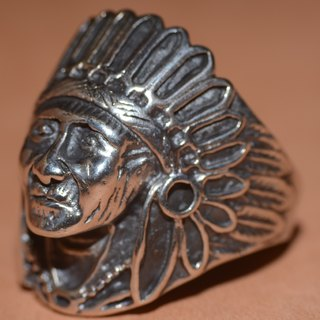 NAVAJO silver rings Indian Head, hippie, Harley, heavy machinery, American, Indian