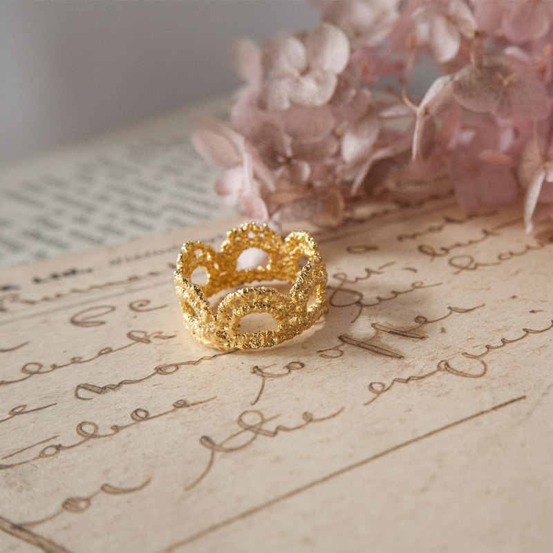 Mini Crown Lace Ring Copper Silver Alloy Gold Plated Choccy