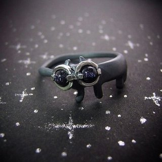 miaow with star spectacles on  ( cat sterling silver ring 貓 猫 星 镜子 指杯 銀 )