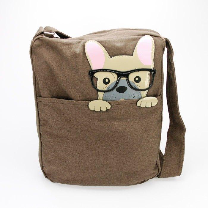 Sleepyville Critters King Nerdy French Bulldog Canvas Messenger Bag