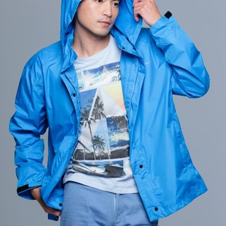 Paris Rainbow ~ simple reflective waterproof raincoat jacket / sun windbreaker / mountaineering / commuter / motorcycle / fresh blue men