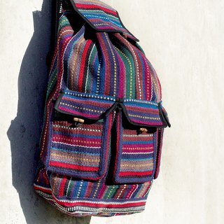 After weaving feel Backpack / ethnic backpack / stripes Backpack - Blue World