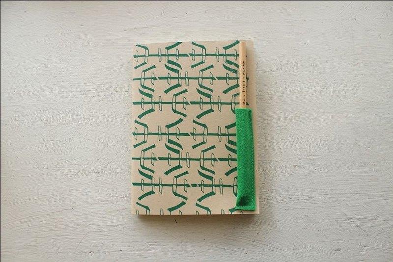 【ZhiZhiRen】厵 | 車縫線筆記本 - 鹽程鐵窗-綠