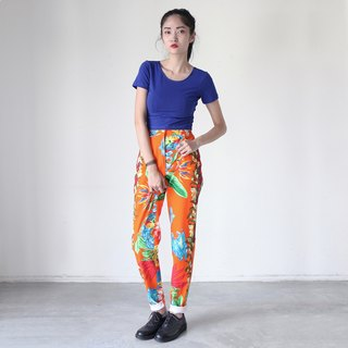 A ROOM MODEL - VINTAGE, DP-0233 VERSACE bottom orange flower pattern retro flower pants with Shimokitazawa