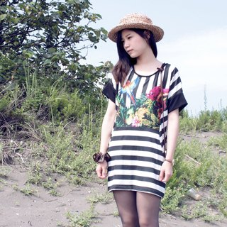 Tropical Striped Dress |Flying Parrot