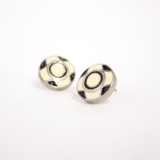 Circle dot Roman Checker Stainless Steel Earrings 226