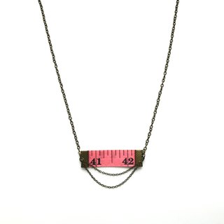 Inch Necklace| Tape measure Necklace| Pink