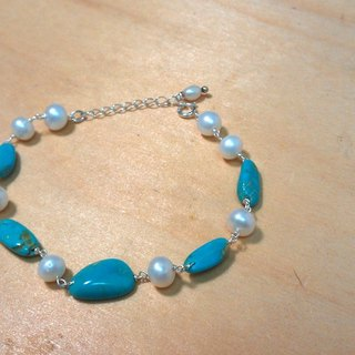 Tong Ling set record 925 sterling silver ornaments ~ {} a dream picturesque natural hand-made white pearl turquoise bracelet
