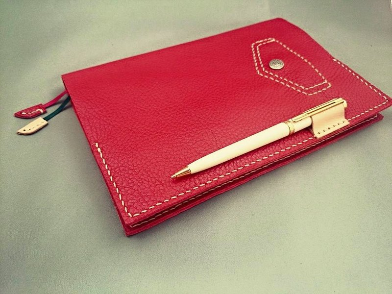 In Chi cow leather slipcase ordered -B5- Italian cow leather - tannic red _ the whole paragraph right-hand-stitched leather Dai