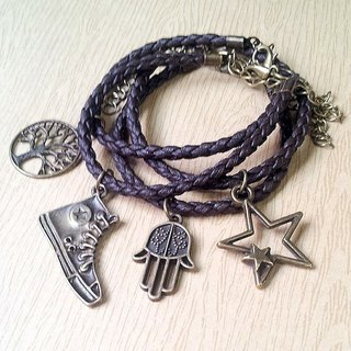 Beard small star - simple ★ woven leather bracelet (optional one)