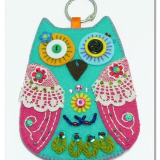 Cat peach Eagle Card Case - blue, green and pink