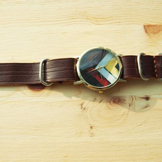 Handmade vegetable tanned leather strap with imitation wood form the core